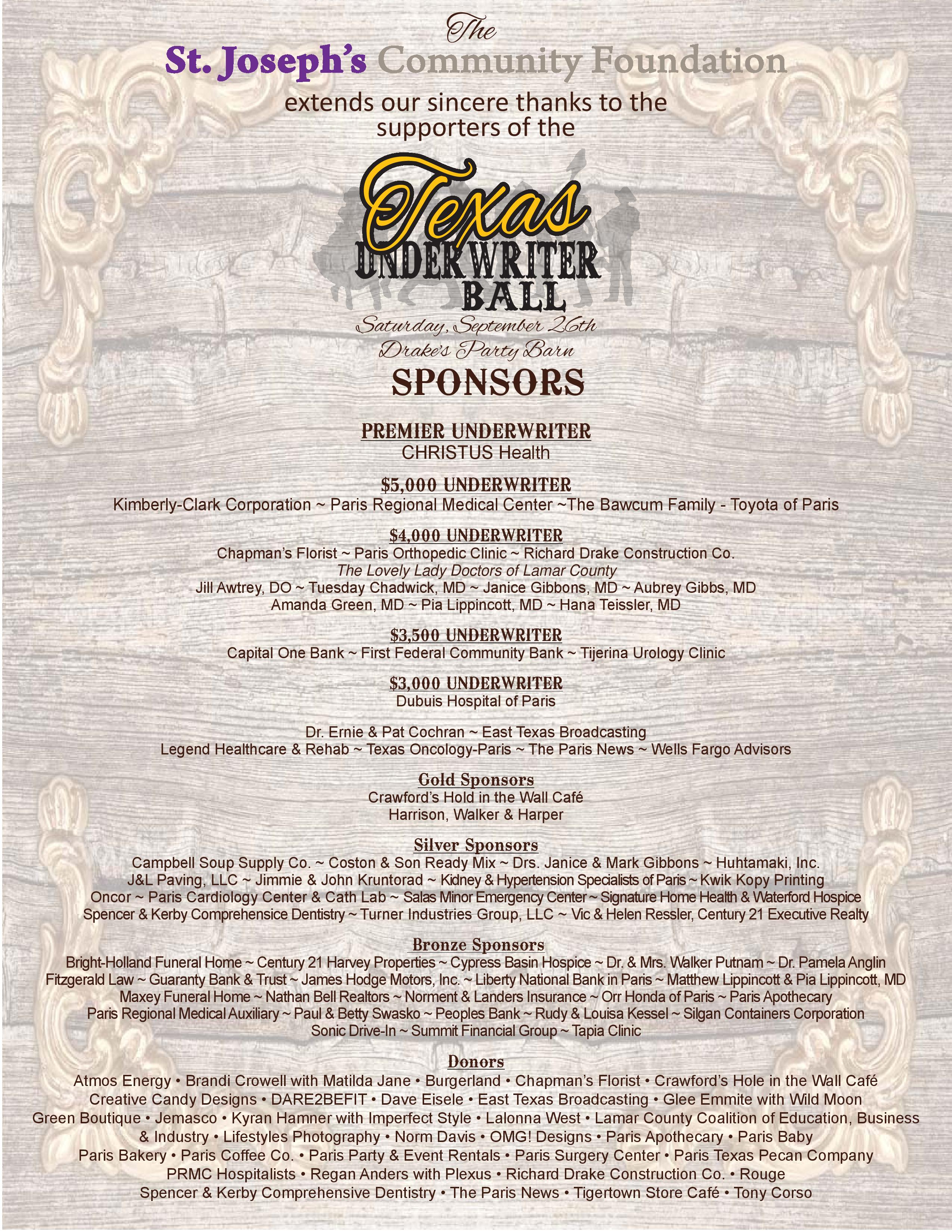 St Joseph s munity Foundation Texas Underwriter Ball Sponsors
