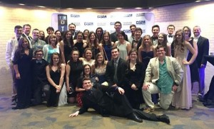 North Lamar's cast and directors gather for a picture after winning the Best Ensemble Award at the DSM High School Musical Theatre Awards.  Others pictured who shared in the good news are Principal Clint Hildreth and Superintendent John McCullough.