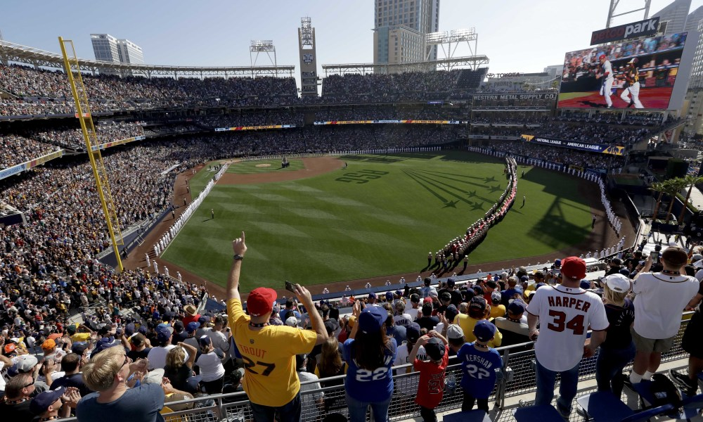 Fans cheer during the National Anthem prior to the MLB baseball All-Star Game, Tuesday, July 12, 2016, in San Diego. (AP Photo/Jae C. Hong) ORG XMIT: CAMY139