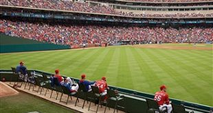Baseball: Aerial rear view of Texas Rangers bullpen during game vs Toronto Blue Jays at Globe Life Park in Arlington. Arlington, TX 5/15/2016 CREDIT: Greg Nelson (Photo by Greg Nelson /Sports Illustrated/Getty Images) (Set Number: SI384 TK1 )