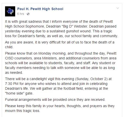 Paul Pewitt HS Statement On Murder