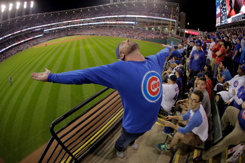 A Chicago Cubs celebrates during the eighth inning of Game 7 of the Major League Baseball World Series against the Cleveland Indians Wednesday, Nov. 2, 2016, in Cleveland. Charlie Riedel, The Associated Press