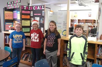 Bailey Intermediate 5th grade science fair winners beginning left are Katie Trammell, Heather Bright, Gracie Heying, and Rylee Adams.