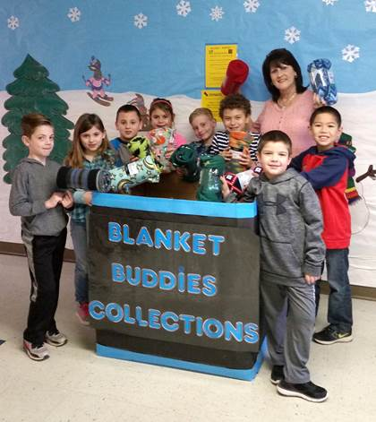 New blankets for the Rainbow Room at the Children's Advocacy Center are being collected by the Higgins Elementary GT students.  Spearheading the project and making a contribution are Eli Green, Ella Chaffin, Landon Kessel, Averee Bennett, Grady Thomison, Grey Gillem, Sonja Carter, Ryan Trenchard, and Brody Dyess.