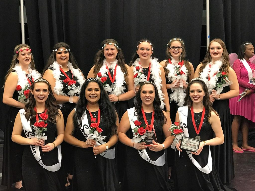 North Lamar Colorguard members placing second at state beginning front row left are Adrienne Fitzgerald, Nancy Castillo, Rebekah Reed, and Jennifer Wirges.  In back are Caroline Hicks, Samantha Wisham, Brianna Grissom, Coral Smith, Kaitlyn Conlin, and Logan Liles.