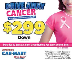 Car Mart Drive Away Cancer Sidebar