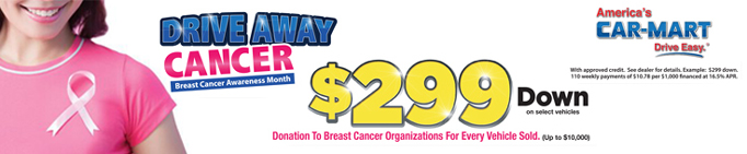 Car Mart Drive Away Cancer Header Banner