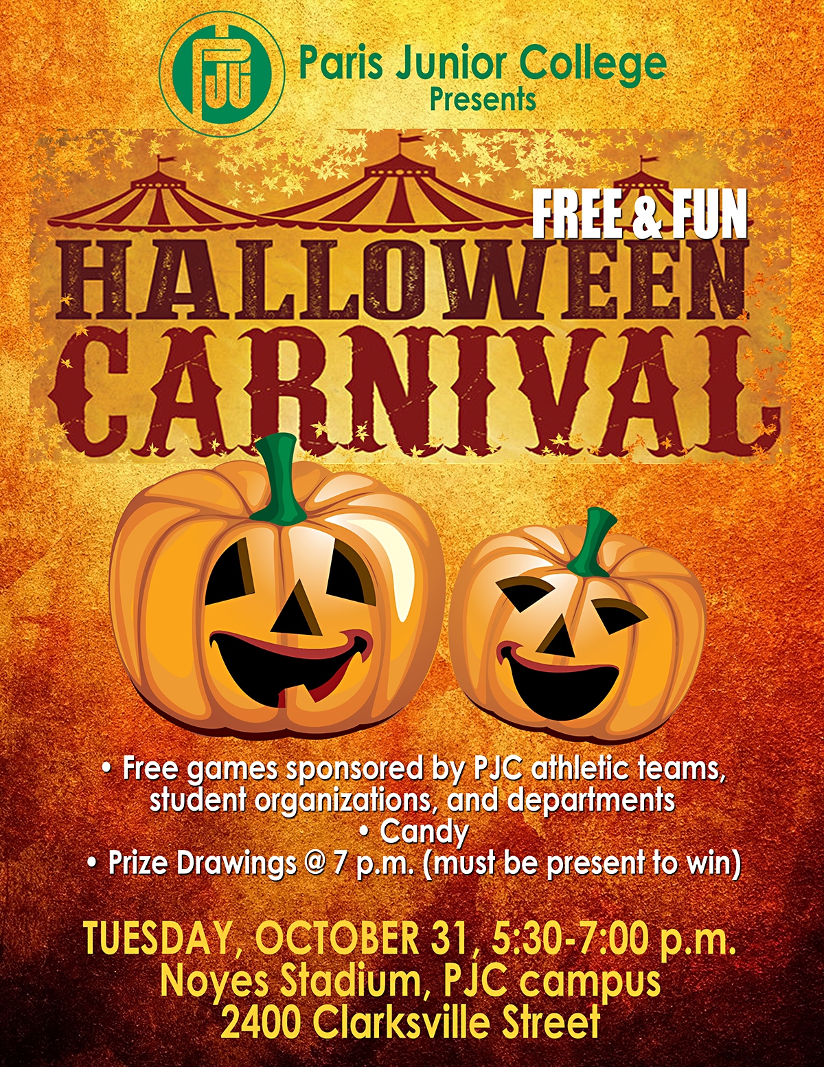 free halloween carnival at pjc on tuesday – easttexasradio