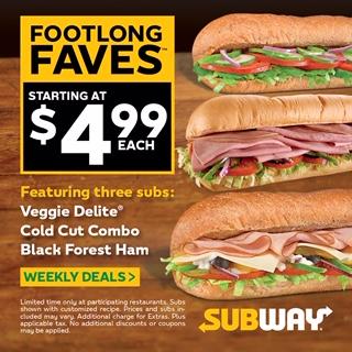 Subway Footlong Faves