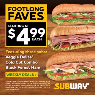 Subway Footlong Faves